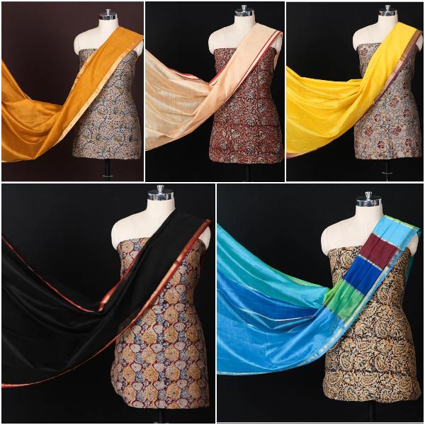 Limited! Kalamkari Chanderi Fabric & Maheshwari Silk Dupatta 2pc Suit Sets