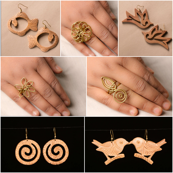 Hand Carved Wooden Earrings & Jhilmil Wire Art Brass Rings
