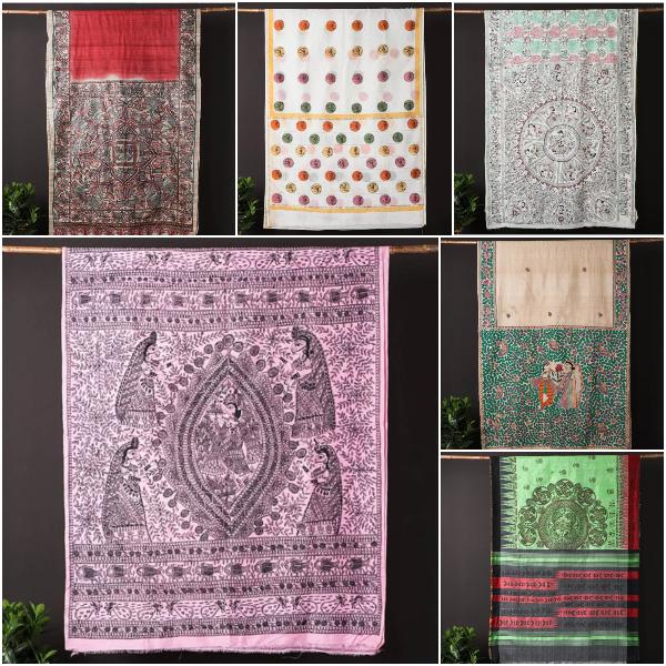 Traditional Madhubani Handpainted Chanderi, Tussar & Pure Silk Handloom Sarees by Roots Tale