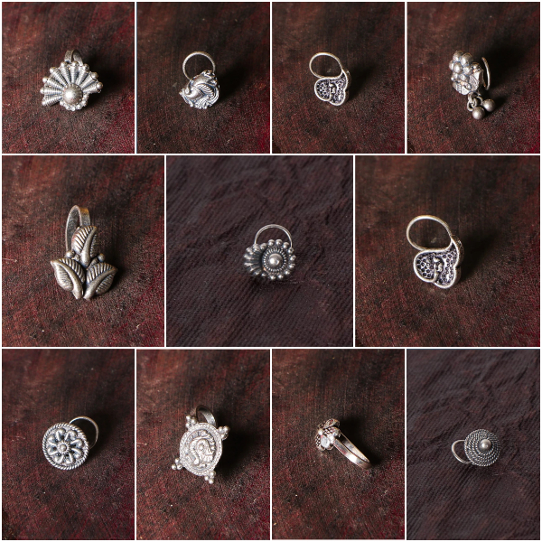 Antique Padma Sterling Silver Nosepins & Clip-On