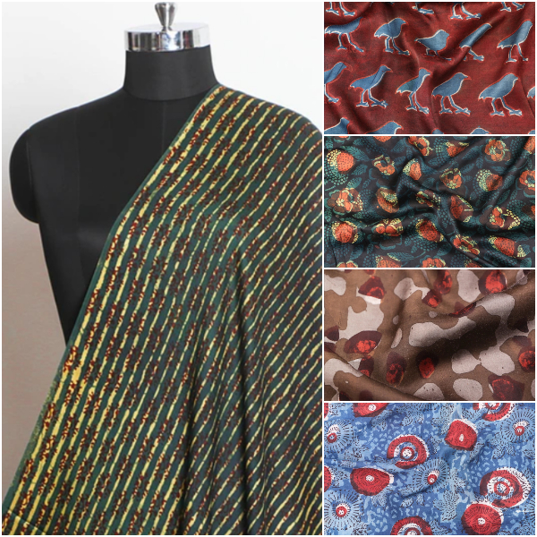 Exclusive ! Modal & Viscose Silk Fabrics with Vanaspati Block Prints