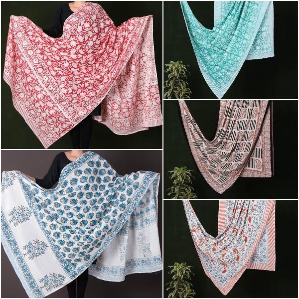 Sanganeri Block Printed Mul Cotton Dupattas/ Wrap Sarongs by Deepak Chhipa