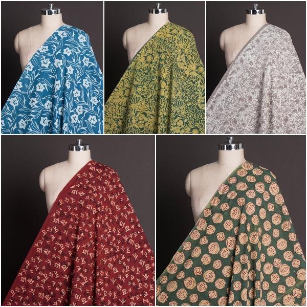 Bindaas Art Hand Block Print Natural Dyed Cotton Fabrics