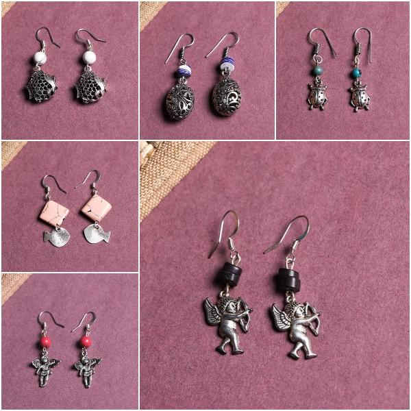 Handmade German Silver Bead Work Earrings by Jalpari