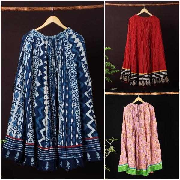 Kusumlata Hand Block Printed Cotton Crinkle Long Skirts